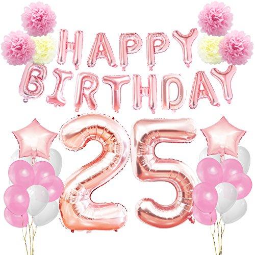 KUNGYO 25. Geburtstag Party Dekorationen Kit Rose Gold Happy Birthday Banner-Riesen Zahl 25 Sterne Helium Folienballons Bänder Papier Pom Blumen Alles Gute Zum Geburtstag für Frauen