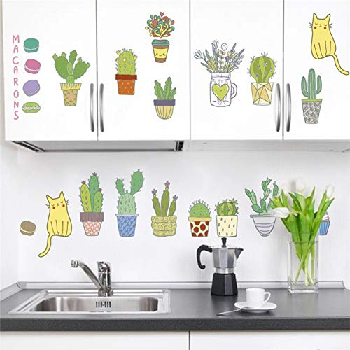 Taoyue Cartoon Tuin Planten kat muursticker woonkamer keuken decoraties Pvc muurtattoos DIY poster Pvc muurkunst