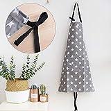 MEJOSER Sterne Schürze mit Tasche Verstellbare Kochschürze Küchenschürze Latzschürze Grill Bakcen Damen Schürze für Frauen Kochen Arbeit Hausarbeit (Grau) - 2