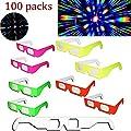 Akiimy 100 Packs 3D FIREWORKS GLASSS FIRWORKS 3D PAPER GLASSES Rainbow Diffraction 3D Glasses - Folded & Sleeved