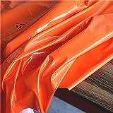 Meterware als Dekostoff- Orange Stretch-Ledergewebe Mit