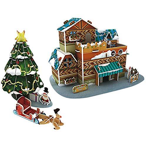 Children's puzzles, 3D paper puzzles, Christmas Santa Claus, kerstboom educatief doe-het-speelgoed for children.