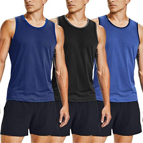 COOFANDY Camiseta de gimnasio sin mangas para hombre, paquete de 3 unidades, de manga corta, Azul Marino Azul Negro, XXL