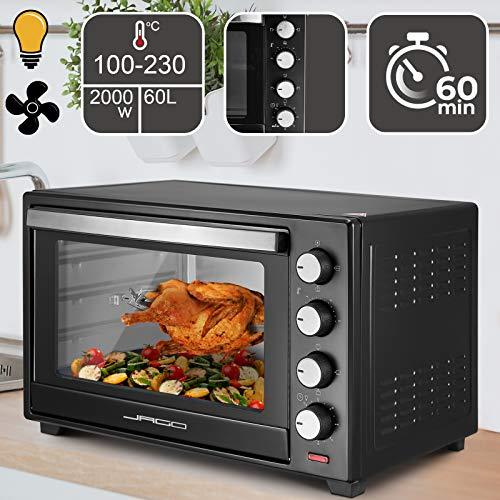 Mini Four - Capacité 60 L, 2000 W, Minuteur 0-60 min, 100-230°C, 6 Modes de Cuisson, avec Rôtissoire, Grille et Plaque de Four, Double Vitrage, Noir - Four Électrique, à Poser, Ventilé