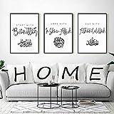 WAFENGNGAI cuadros nórdico Pinturas en lienzo árabes islámicas en blanco y negro Impresión de póster Imagen Sala de estar Ramadán Decoración para el hogar Decoración de pared-40X60Cmx3 Sin marco