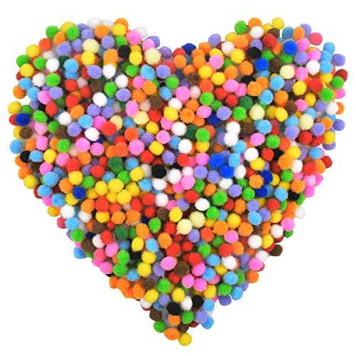 NATUCE Pompons zum Basteln, Mini Pompoms zum Basteln, 8mm, 1000 Stücke Mini Pom Poms, Pompons Bälle für Kinder, Bunte Pompons für Bastelarbeiten und Hobbybedarf