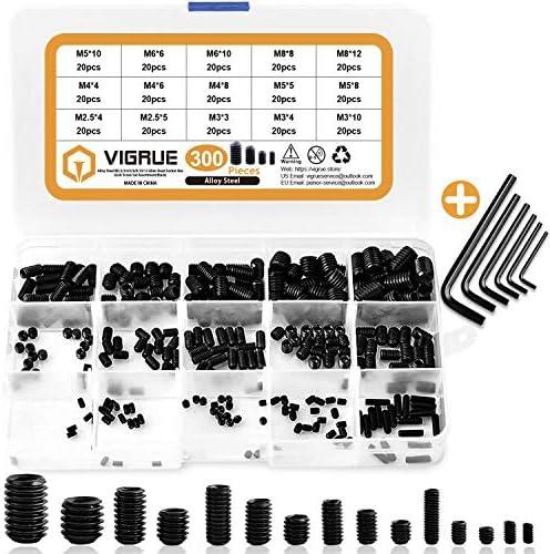 VIGRUE 300Pcs M2 5 M3 M4 M5 M6 M8 Hex Allen Head Socket Set Screw Bolts Assortment Kit Grub product image
