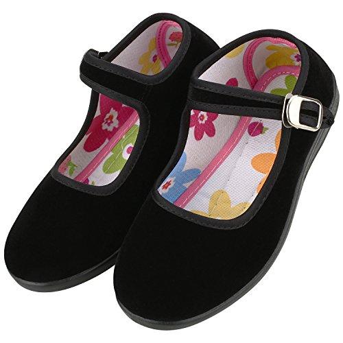 Women's Kids Velvet Mary Jane Shoes Ballerina Ballet Flats Yoga Exercise Shoes (Little Kid 1.5-2, Black-Kid)
