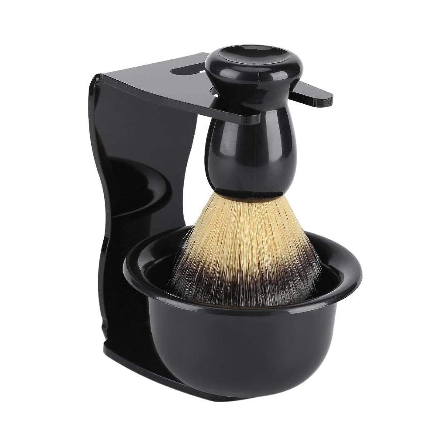 チーズアレルギー接続3セットひげブラシ シェービングブラシ プレゼントシェービングブラシセット プラシスタンド 石鹸ボウル 理容 洗顔 髭剃り