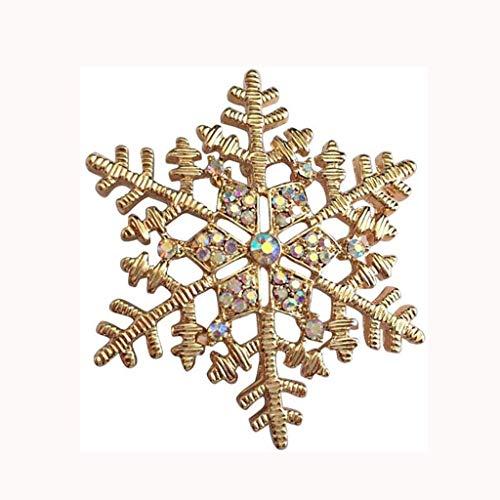 DAGONGREN Broche, Broche de la Mujer Creativa de la Navidad del Copo de Nieve Broche Insignia Broche del Rhinestone de Cristal Broche de Vestido mantón de la Bufanda Clip for Chicas de Oro Rosa