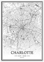 USA NC Charlotte Black&White Minimalist Art 20×28 City Map Painting Poster Home Decor Gift