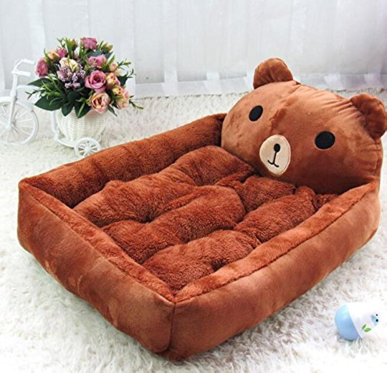 Pet Sofa Removable and Washable Cartoon Pet Dog Bed Dog Cushion Brown Andosange