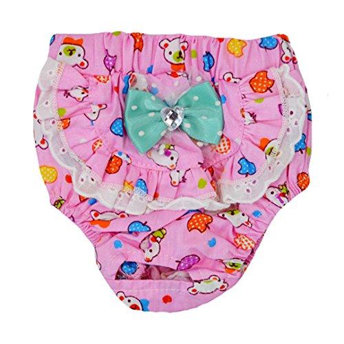 ISABELLE Confortable et Respirant Physiologiques Hygiène Pantalons Couche Réutilisable pour Chiot chienne animal femelle/M Rose