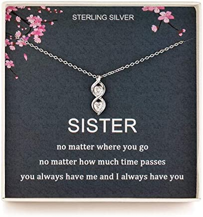 Sister Gifts from Sister Sterling Silver Infinite Two Interlocking Infinity Double Hearts Necklace product image