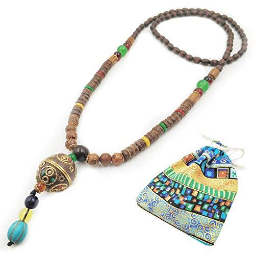 Collar largo de cadena para mujeres y niñas, estilo bohemio de Buda con cuentas de madera natural y piedra, accesorios de ropa, 100 % hecho a mano, collar largo