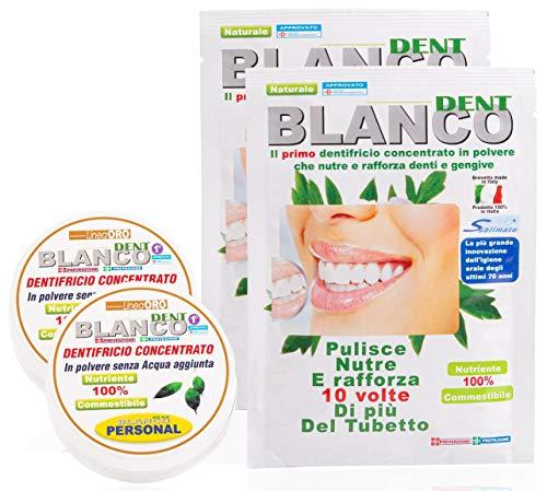 Dentifricio Blancodent - in Polvere 100% Bio - Collutorio - Dentifricio Sbiancante – Alcalinizza la Bocca - Denti Bianchi e Gengive Sane - Gusto Menta - 2 Kit