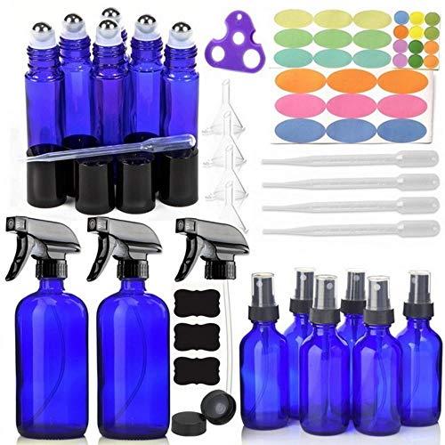 Mstr 14 Pack Empty Brown Glass Spray Bottle w/ 6-10ml Roll on Bottle 6-60ml & 2-500ml Sprayer,Blue