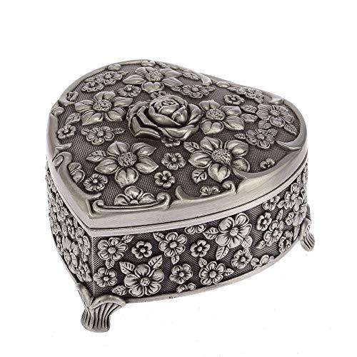 YZYZYZ Rosa En Forma De Corazón Caja De Joyería En Relieve Hogar Sala De Estar Oficina Caja De Almacenamiento Creativo Ornamento Exquisito Metal Artesanía Regalo