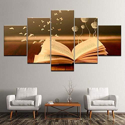 VKEXVDR 5 Paneles Pintura de la Lona Mural Libro Flor Mariposa Pájaro Decoración Arte Fotos Paisaje Imprimir Decoración Moderna del Ministerio del Interior Sin Marco 200 * 100cm