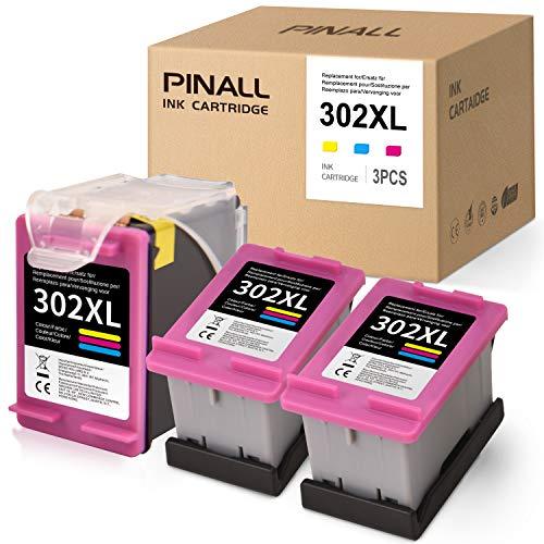 PINALL Remanufacturado Cartuchos de Tinta Reemplazo para HP 302 XL 302XL Compatible con HP Envy 4520 4527 4524 DeskJet 1110 3630 2130 2132 3637 3636 3638 OfficeJet 4652 3830 3831 3833 (3X Color