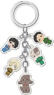 Beautymei Anime Characters Figure Pendants Doll Metal Keychain Japanese Anime Cartoon Key Rings(Yuri!!! on ICE)