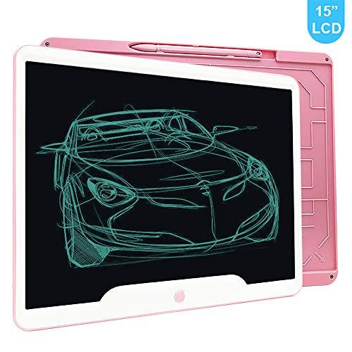 Richgv 15 Pulgadas Tableta Gráfica, Tablets de Escritura LCD, Portátil Tableta de Dibujo, Adecuada para el hogar, Escuela, Oficina, Cuaderno de Notas, 1 año de garantía (Rosa)
