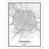 YUAN Leinwand Bild,Argentinien Cordoba Stadt Karte Schwarz