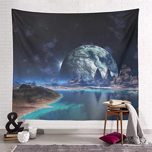WERT Starry Moon Dream Tapiz Colgante de Pared Decoración para el hogar Sala de Estar Dormitorio Dormitorio Arte Fondo de Tela Toalla de Playa Manta de Picnic A24 200x150cm