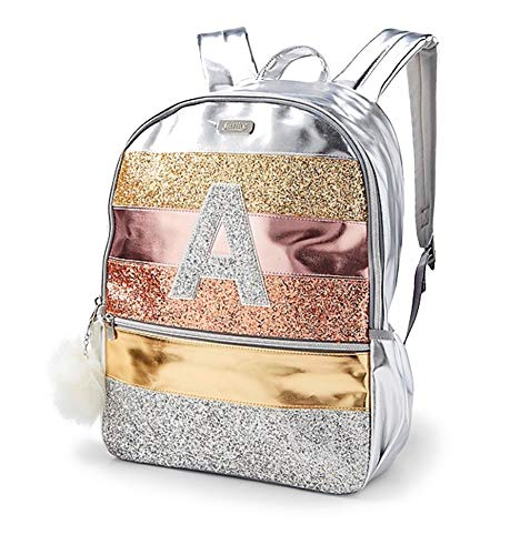 Justice Girls Glitter Stripe Silver Rose Gold Initial Full Size 16' School Backpack (Letter H)
