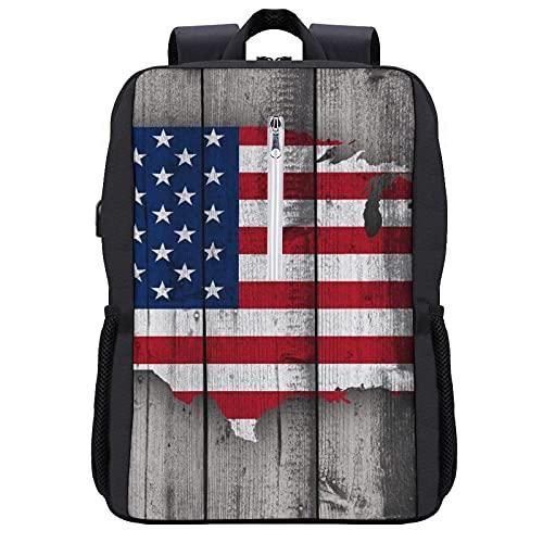 Mochila de viaje,bandera de EE. UU.,Mapa estadounidense en paneles de madera gris vintage rústica,tablones,cabina rústica,bolsa de antirrobo para negocios,delgada y...