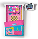 Playtime Bed Sheets Twin Set! Over 50 Fun Interactive Games & Puzzles. Soft Microfiber (1 Fitted Sheet + 1 Flat Sheet + 1 Reversible Pillowcase). (Pink)