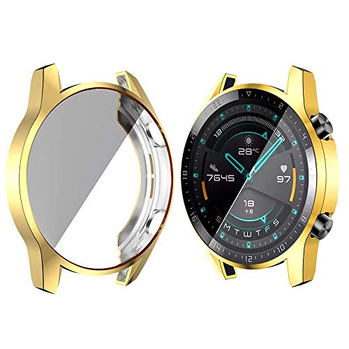WSGGFA TPU Funda para Huawei Watch GT 2 46mm Banda de Correa Plateada Suave Cubierta de Protector de Pantalla Plateado (Band Color : Ivory, Band Width : Huawei GT 2 46MM)