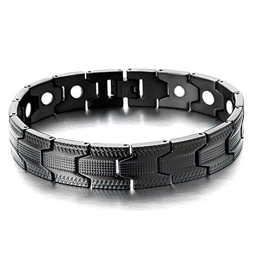 COOLSTEELANDBEYOND Spezial-Design Schwarz Armband für Herren Edelstahl-Armband mit Starken Magnete, Link-Tool zum Entfernen Enthalten