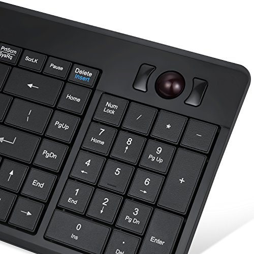 Perixx Periboard-320 Wired Backlit Trackball Keyboard with 2 Hubs, Compact Design with Numeric Keypad, Black, US English Layout (11494)