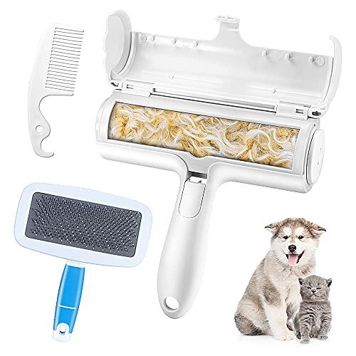 3-teilige Hundebürste Katzenbürste, Haustier Bürsten, Tierhaarentferner Fusselrolle, Hundebürste zur Behandlung Abgestorbener Haare, Geeignet für Hunde, Katzen, Kaninchen und Andere Pelzige Haustiere