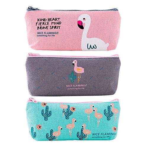 Yuccer Estuche de lápices, Bolso de Lona de una Sola Bolsa de Almacenamiento de Maquillaje cosmético para Adolescentes Escuela Grande (Pink+Gray+Blue, 3 Pack)