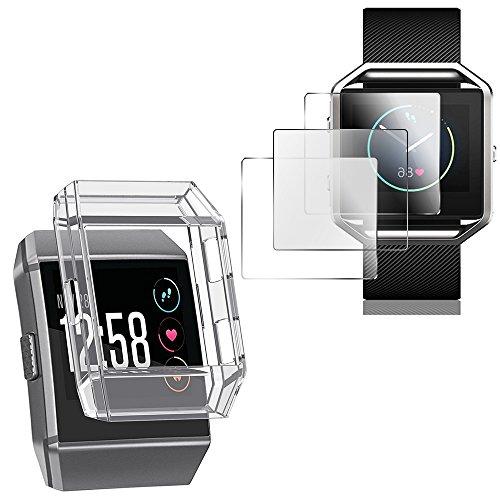 AFUNTA Schutzhülle für Ionic mit Displayschutzfolien, TPU stoßfestes Cover und 3 Stück Kratzfeste TPU Schutzfolien für Ionic Smart Watch