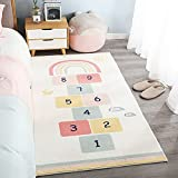 Follure Rainbow Sky Hopscotch Game Rugs,Non-Slip Jumping House Mat Soft Durable Woven Faux Wool Floor Carpet for Bedroom,Playroom Nursery,Great Gift for Girls & Boys (E,40×60cm)