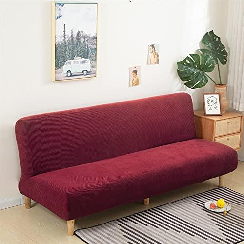 TRSX Cubierta de sofá Cubierta de sofá Cubierta Sofa DE Sofa DE Armada Color sólido sin apoyabrazos Big Elástico Plegable Decoración Banco Cubiertas (Color : Wine, Specification : S Size)