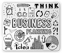 落書き長方形マウスパッド、事業計画のテーマ落書きセットブレインストーミングプレゼンテーションと進捗状況、滑り止めラバーバッキングマウスパッド、ブラックホワイト