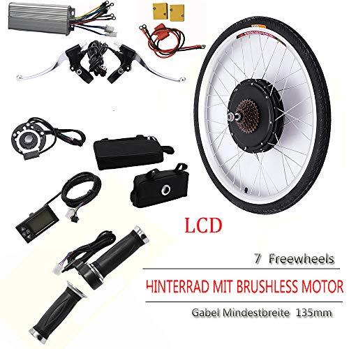 OUKANING - Kit de conversión para bicicleta eléctrica de 26 pulgadas (36 V, 250 W, LCD, para bicicleta trasera)