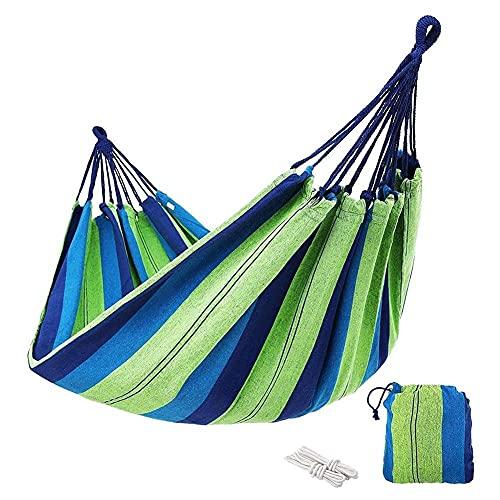 GUOXIANG Hamaca para exteriores, capacidad de carga de hasta 150 – 200 kg, multicolor, para exteriores, de algodón, para camping, con bolsa de transporte para jardín