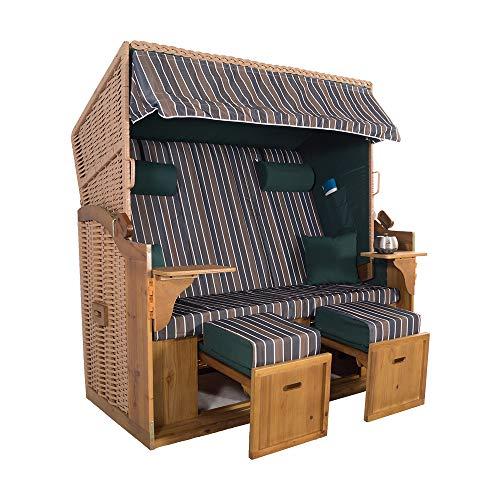 XXL 2,5-Sitzer Natur Strandkorb Hörnum (als Bausatz, Grün-Braun-Blau Blockstreifen)