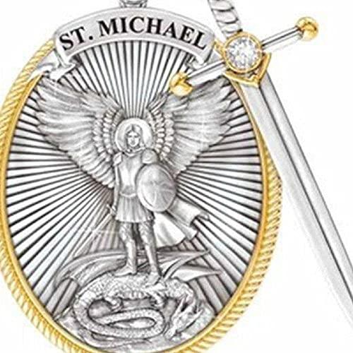 Collar con colgante de espada divina de San Miguel con escudo divino de Arcángel