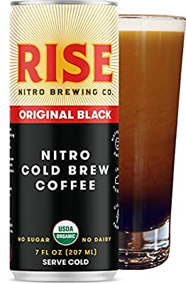 RISE Brewing Co. | Original Black Nitro Cold Brew Coffee (12 Pack) 7 fl. oz. Cans - Sugar, Gluten & Non-Dairy | Organic & Non-GMO | Draft Nitrogen Pour, Clean Energy, Low Acidity, & Naturally Sweet