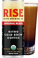 CLEAN ENERGY - RISE Original Black Nitro Cold Brew Coffee contains 180mg (~2 espresso shots) of naturally occurring caffeine, providing a long-lasting, great-tasting, additive-free boost. FROTHY CASCADE - tired of nitro coffees that don't cascade? Ou...