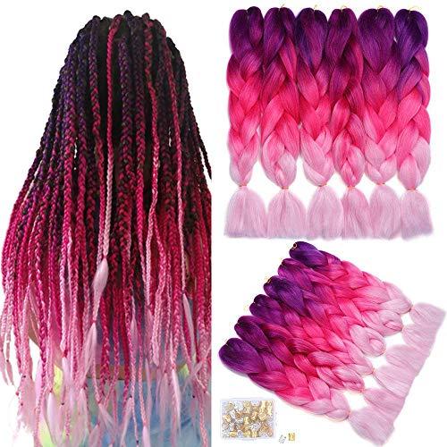 6Pack Ombre Braiding Hair Jumbo Braiding Hair Dreifarbige Kanekalon Jumbo Braids Synthetische Flechthaarverlängerungen (24 Zoll, Lila/Rosenrot/Pink)