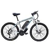Bicicletas eléctricas para Adultos, 26'48 V 250/350 W con batería Shimano de 21 velocidades extraíble de 10 Ah, Velocidad máxima: 35 km/h, Bicicletas eléctricas Urbana (White, 250W)