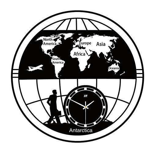 Orologio da Parete Vintage Vecchia Mappa, Orologio da Terra Piatto Orologio da Tavolo Mondo Orologio da Regalo di Arte Regali, Idee Regalo per Donna Uomo Nero