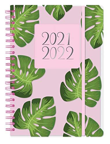 Agenda scolaire 2020 2021 à spirales A5 1 jour par page a5 Rose (motif feuilles vertes).